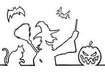 bats ведьма фонарика o jack кота Стоковая Фотография