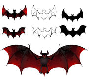 Bats. Artistically painted bats with beautiful texture wings on a white background Stock Images
