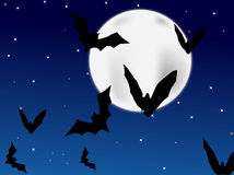 Bats. Flying at night and sky with lot of stars and moon Stock Photography
