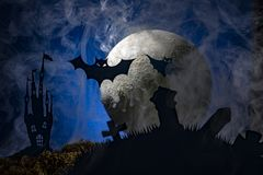 Bats against the background of the moon, halloween Royalty Free Stock Image