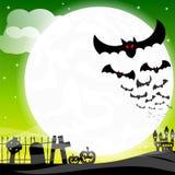 Bats against the full moon Stock Photo