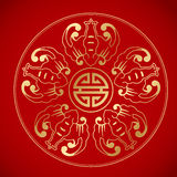 5 bats around chinese Symbol long life. Inspired by Chinese vintage painting Stock Image