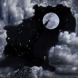 Bats and beautiful full moon sky Royalty Free Stock Photos