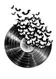 Bats. Black vinyl with the black flying bats on the white background stock photo