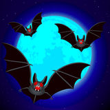 Bats and blue Moon. Bats on the blue Moon and starry sky background Royalty Free Stock Photo