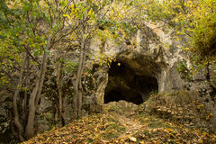 Bats Cave. Entrance in the village of Pestera, near Brasov Stock Images