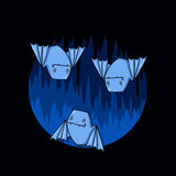 Bats in a cave illustration Royalty Free Stock Image