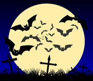 Bats on cemetery with moon on background Royalty Free Stock Photography