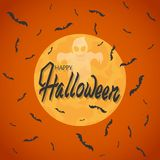 Bats fly against the full moon. On an orange background. Ghost and inscription. Halloween. stock illustration