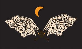 Bats fly out at night stock illustration