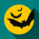 Bats fly to the moon flat icon Stock Photos