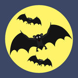 Bats fly to moon Royalty Free Stock Photography