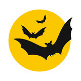 Bats fly to the moon icon Stock Photo