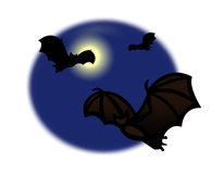 Bats flying around the full moon Royalty Free Stock Photography