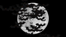 Bats Flying Over Full Moon