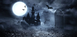Bats flying to draculas castle Royalty Free Stock Photos
