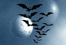 Bats and full moon Stock Photography
