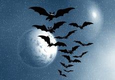 Bats and full moon stock photography