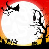 Bats in a full moon night Royalty Free Stock Photo