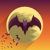 Bats on full moon Stock Image