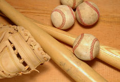 Bats Glove & Baseballs Royalty Free Stock Photos
