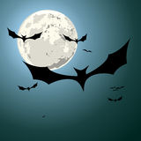 Bats halloween background. Detailed illustration of bats in front of a full moon Stock Images