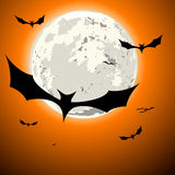 Bats halloween background. Detailed illustration of bats in front of a full moon Royalty Free Stock Photos