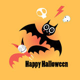 Bats for Halloween. Little funny bats for Halloween on an orange background Royalty Free Stock Photos