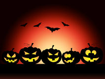 Bats Halloween Means Trick Or Treat And Pumpkin. Pumpkin Bats Showing Trick Or Treat And Halloween Icons Royalty Free Stock Images
