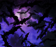 Bats Halloween Night Background. Image Royalty Free Stock Photos