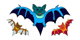 3 bats for Halloween. On a white background Royalty Free Stock Images