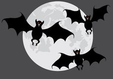 Bats on a  moon. Bats on a background of the moon. A vector illustration. Grey variant Stock Photo