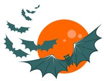 Bats and moon. Flying bats on a moon background. Halloween illustration Royalty Free Stock Photography