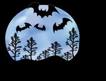 Bats Moon and Trees. Halloween objects in a nice scene Stock Images