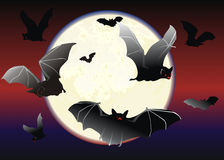 Bats on a moonlit nigth Stock Images