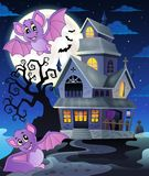 Bats near haunted house theme 1 Stock Images