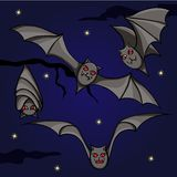 Bats on the night sky Royalty Free Stock Photo