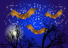 Bats in night sky Stock Images