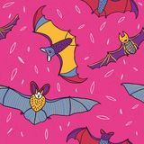 Bats in the night sky seamless pattern vector Royalty Free Stock Images