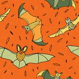 Bats in the night sky seamless pattern vector Royalty Free Stock Photo