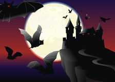 Bats over the black castle Stock Photography