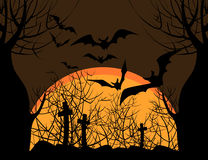 Bats over the cemetery Royalty Free Stock Photography