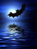 Bats over the water. Bats flying over the water Stock Images