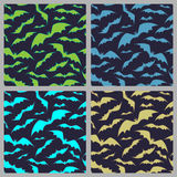Bats pattern for halloween. Set of seamless background with bats. Stock Photo