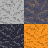 Bats pattern for halloween. Set of seamless background with bats. Stock Image