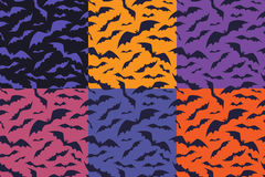 Bats pattern for halloween. Set of seamless background with bats. Stock Images