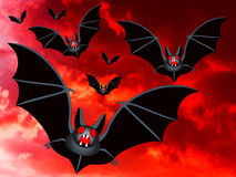 Bats on a red sky. Bats on the red sky background Royalty Free Stock Photography