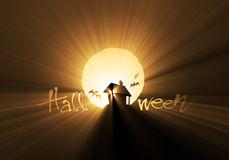 Bats & scary hut Halloween light flare Stock Images