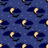 Bats seamless pattern 4. Black bats against the moon in the sky vector illustration