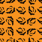 Bats seamless pattern 2. Illustration of silhouette bats in seamless pattern Stock Image